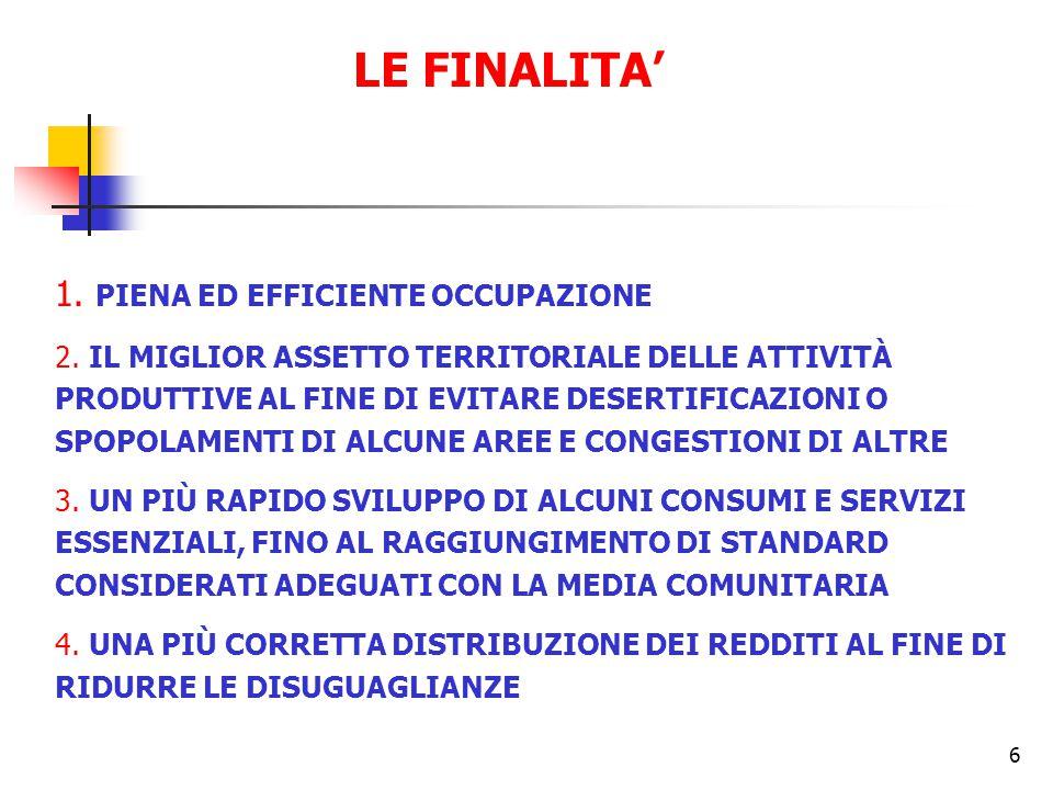 6 LE FINALITA' 1. PIENA ED EFFICIENTE OCCUPAZIONE 2.