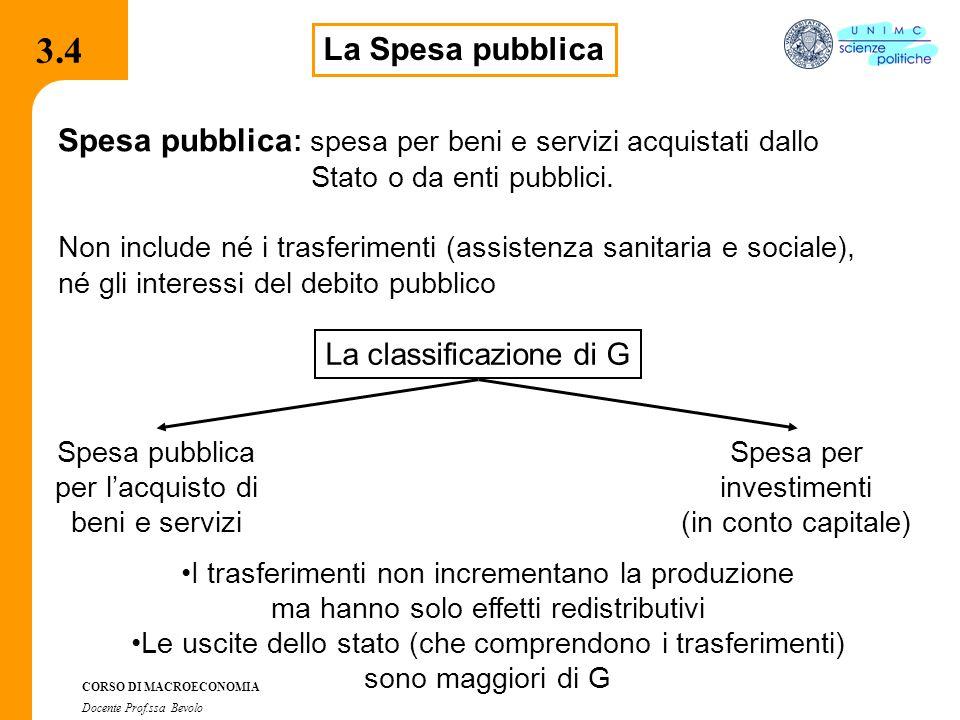 3.7.1 CORSO DI MACROECONOMIA Docente Prof.ssa Bevolo 3.4 La Spesa pubblica Spesa pubblica : spesa per beni e servizi acquistati dallo Stato o da enti