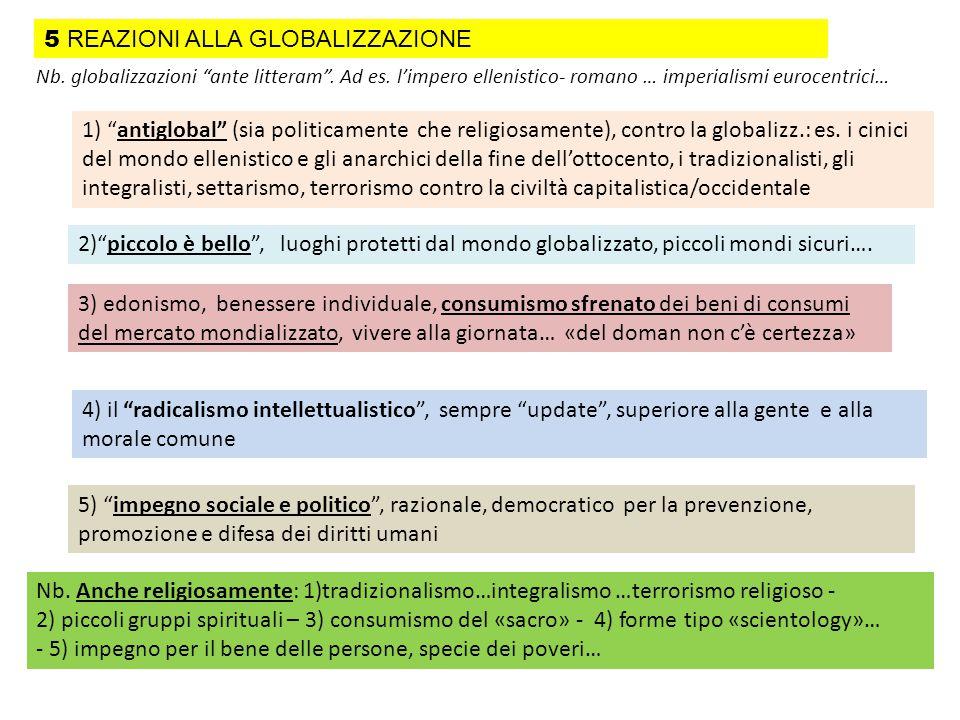 """Nb. globalizzazioni """"ante litteram"""". Ad es. l'impero ellenistico- romano … imperialismi eurocentrici… 1) """"antiglobal"""" (sia politicamente che religiosa"""