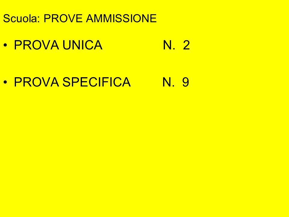 Scuola: PROVE AMMISSIONE PROVA UNICA N. 2 PROVA SPECIFICA N. 9
