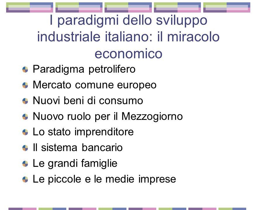 I paradigmi dello sviluppo industriale italiano: la belle epoque L'Italia inizia a recuperare il terreno perduto Ma lo sviluppo si concentra solo nell