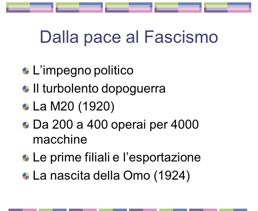 I primi anni di attività 1909-1911 Il progetto verso l'esposizione industriale di Torino 1912 trenta operai per 20 macchine alla settimana L'impresa nella modernizzazione della società La Grande Guerra