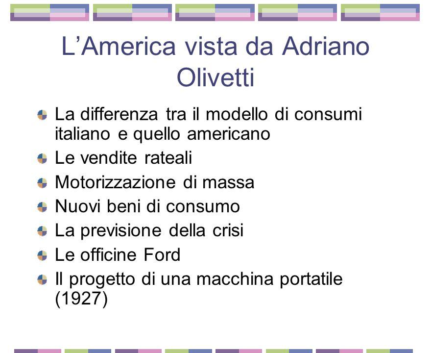 Il viaggio di Adriano Olivetti in America L'impegno civile e politico dei primi anni Adriano Olivetti compie un viaggio di formazione in America (1925-1926) Americanismo e antiamericanismo in Italia negli anni 1920