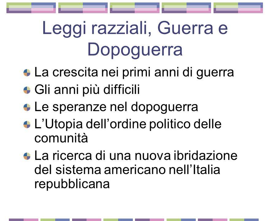 L'impresa nel sistema corporativo La sintesi tra Newdelismo e Corporativismo Il piano regolatore di Ivrea e quello della Val d'Aosta Tecnica e Organiz