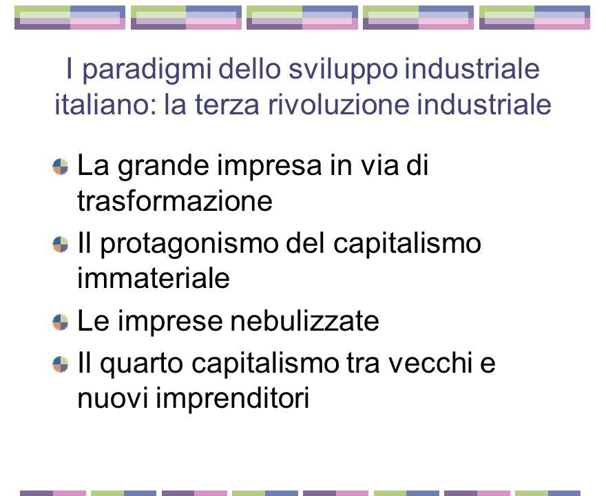I paradigmi dello sviluppo industriale italiano: il miracolo economico Paradigma petrolifero Mercato comune europeo Nuovi beni di consumo Nuovo ruolo per il Mezzogiorno Lo stato imprenditore Il sistema bancario Le grandi famiglie Le piccole e le medie imprese