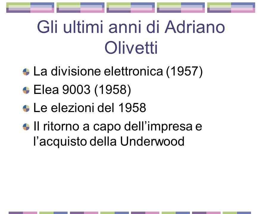 L'espansione nell'Italia repubblicana Divisumma, Lexicon, Lettera 22 Dalla Fondazione al Consiglio di Gestione Il movimento di Comunità Il piano regol