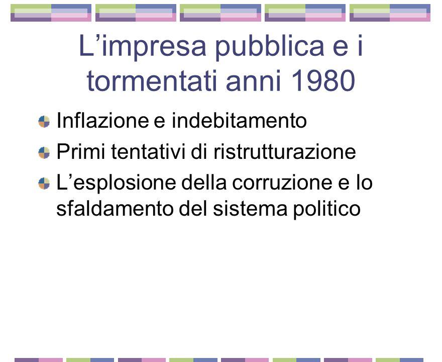 La crisi degli anni 1970 e la paradossale crescita dell'impresa pubblica Crescono gli oneri impropri Gioia Tauro La vicenda dell'Egam La breve parabol