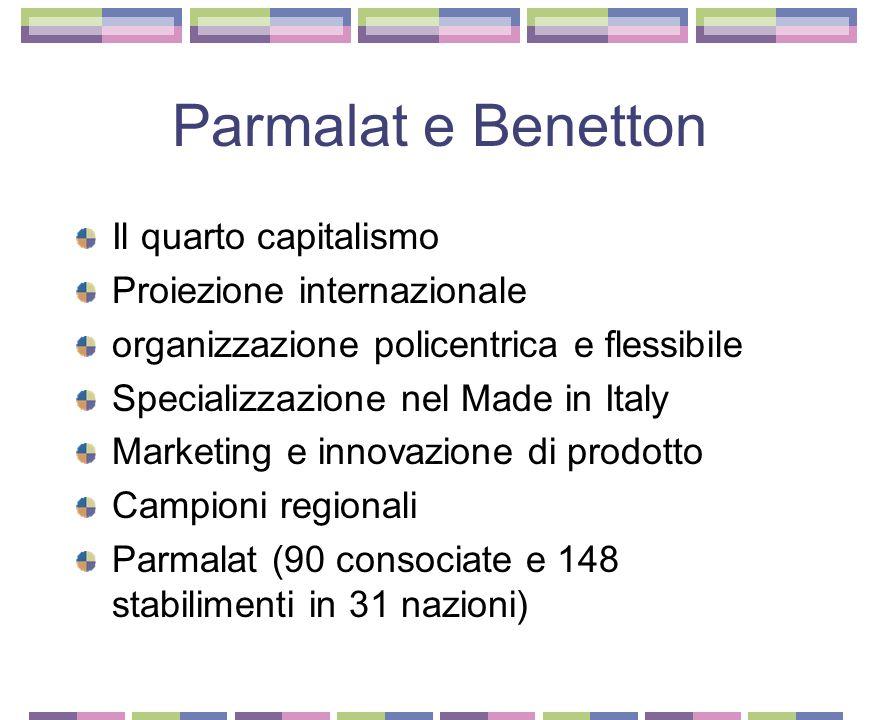 Le grandi imprese italiane Dieci società tra 4 e 10 miliardi di euro L'italia aveva poche grandi imprese Tre gestori di servizi pubblici Tre filiali d