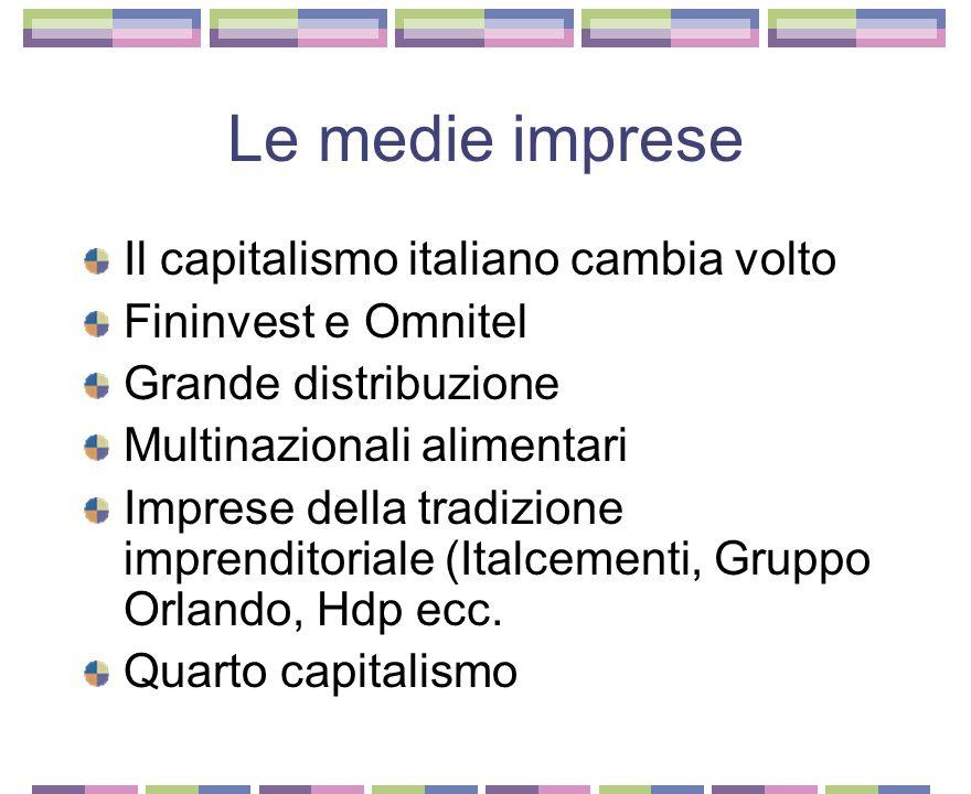 Parmalat e Benetton Il quarto capitalismo Proiezione internazionale organizzazione policentrica e flessibile Specializzazione nel Made in Italy Marketing e innovazione di prodotto Campioni regionali Parmalat (90 consociate e 148 stabilimenti in 31 nazioni)