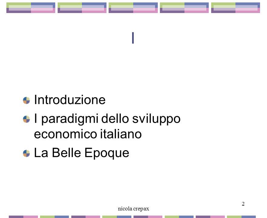 Cresce il reddito degli italiani L'Italia inizia a recuperare il terreno perduto L'industria cresce più rapidamente dell'agricoltura Cresce il numero degli operai Crescono gli investimenti in impianti e macchine Aumenta il reddito procapite Prevalgono i settori a bassa intensità di capitale Ma si affermano anche meccanica siderurgia e elettricità