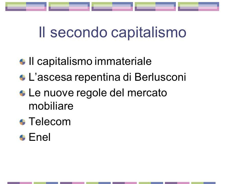 Il primo capitalismo Le ceneri del vecchio sistema di potere La fine dello stato imprenditore Le famiglie scomparse Mediobanca cambia pelle La Fiat La Pirelli