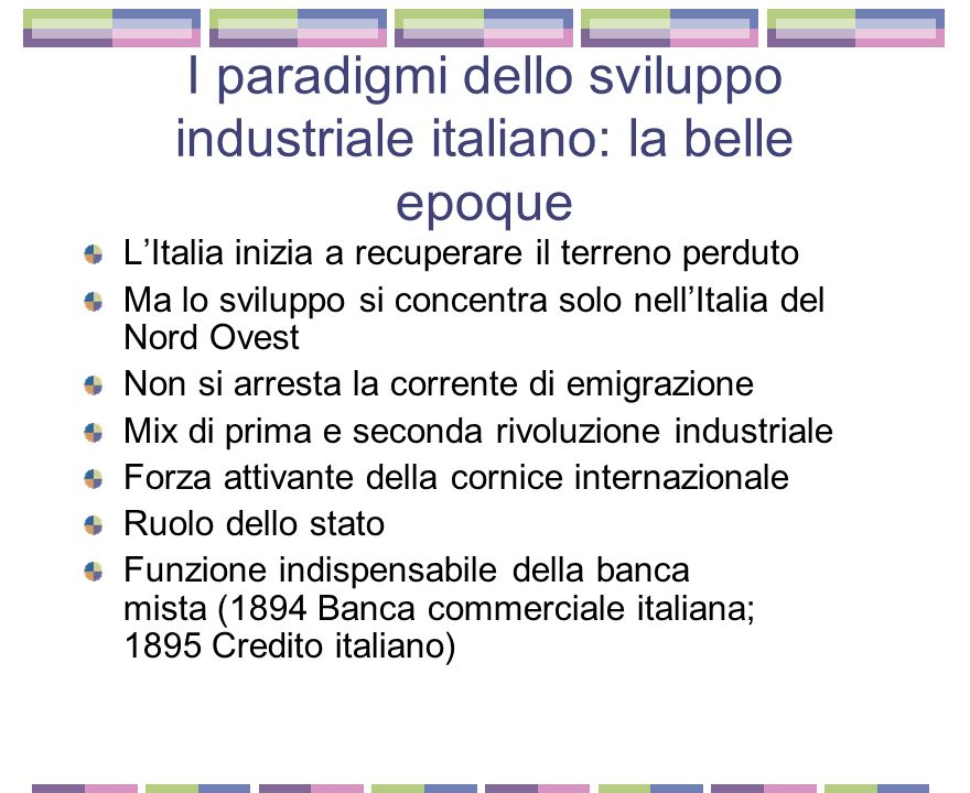L'industria elettrica italiana: la conquista della forza 1884 Nasce a Milano la Edison Giuseppe Colombo La mancanza di carbone era stato un vincolo allo sviluppo 1913 251 spa, con il 20% del capitale azionario totale La produzione era usata soprattutto a fini industriali Paderno d'Addda Vizzola Ticino