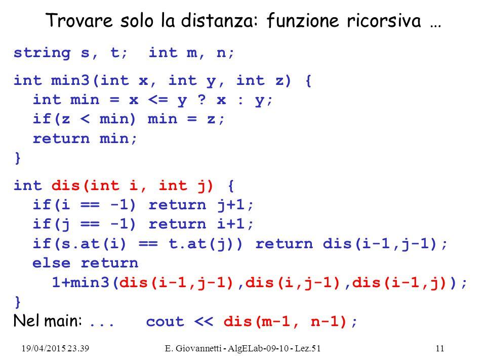 Trovare solo la distanza: funzione ricorsiva … string s, t; int m, n; int min3(int x, int y, int z) { int min = x <= y .