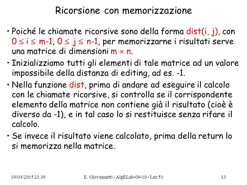 Ricorsione con memorizzazione Poiché le chiamate ricorsive sono della forma dist(i, j), con 0  i  m-1, 0  j  n-1, per memorizzarne i risultati serve una matrice di dimensioni m  n.