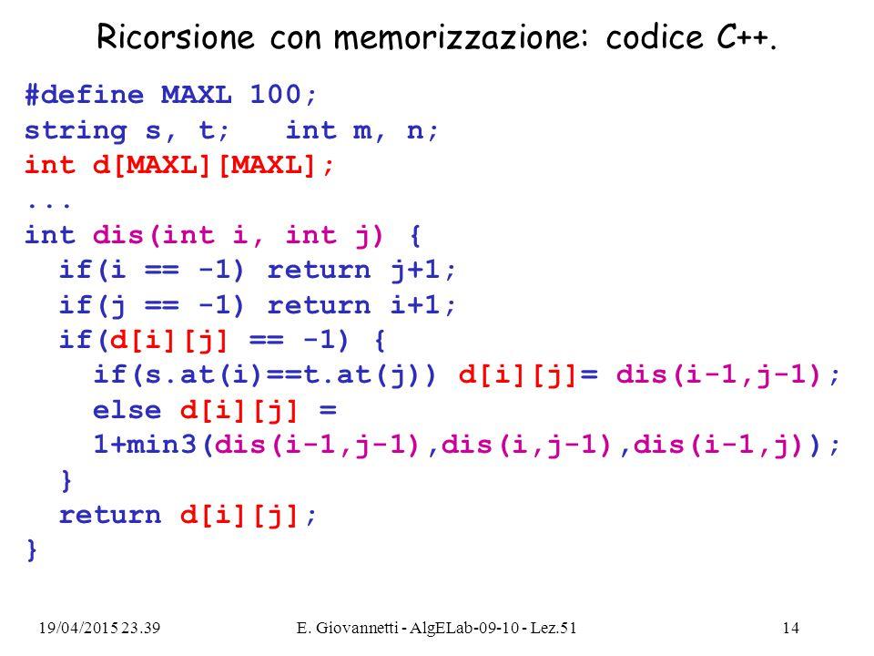 Ricorsione con memorizzazione: codice C++.