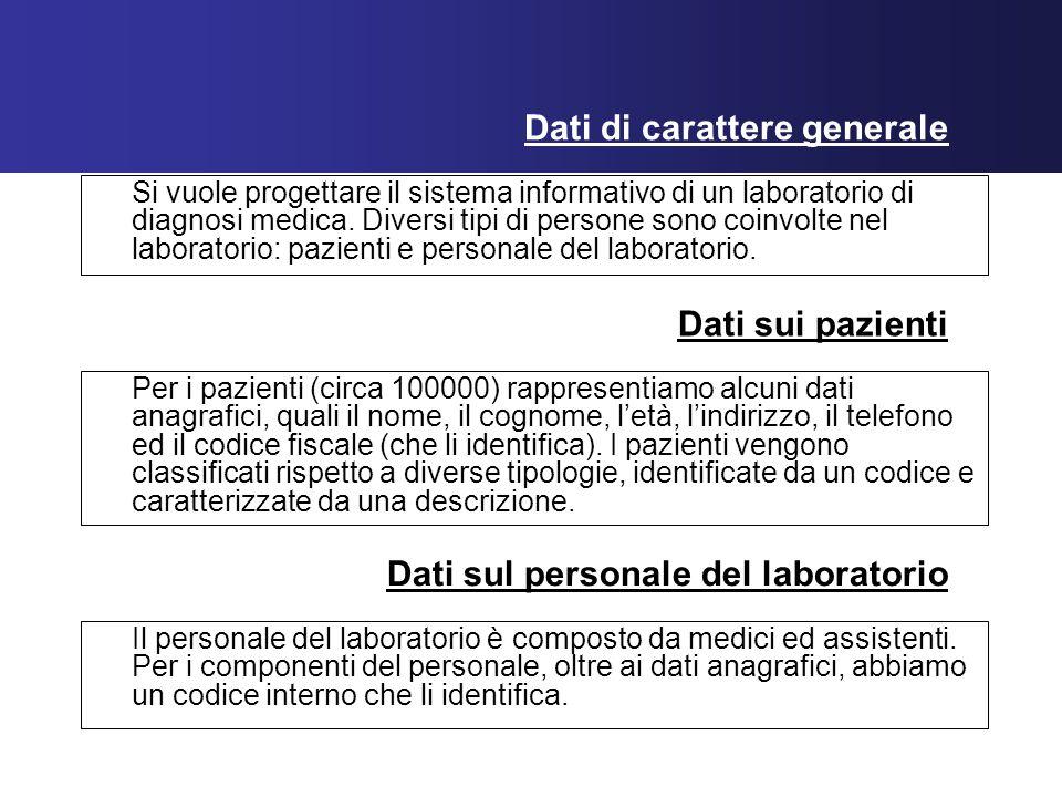 Dati di carattere generale Si vuole progettare il sistema informativo di un laboratorio di diagnosi medica.