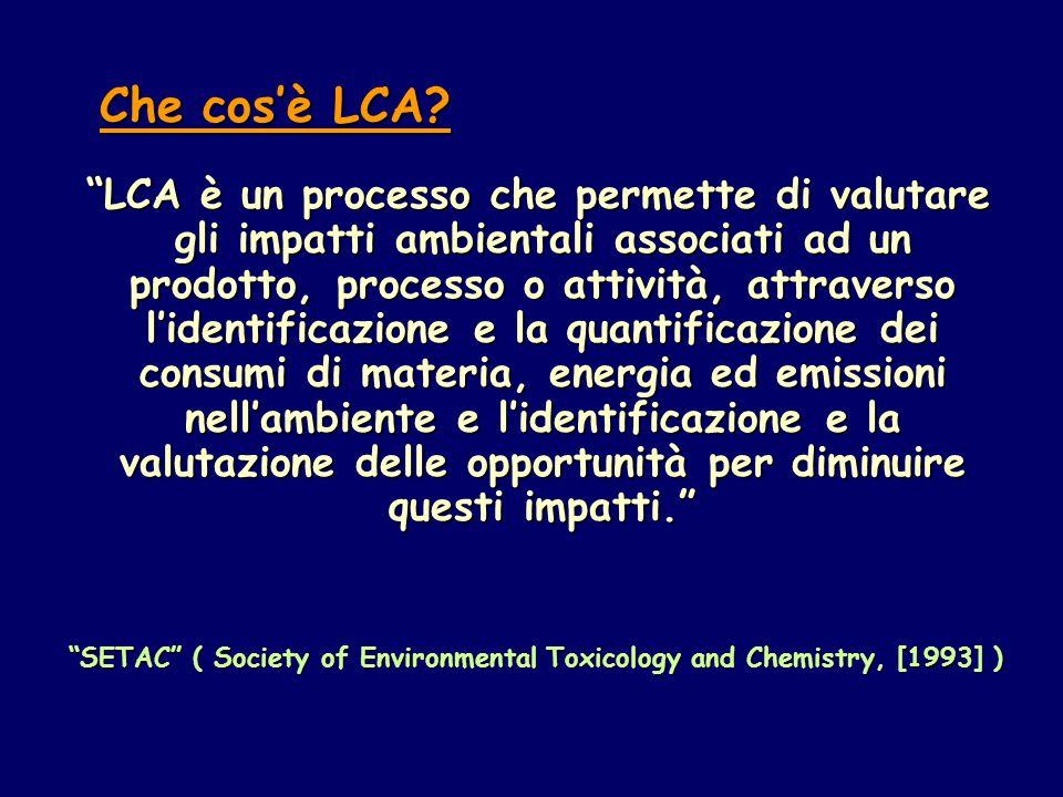 LCA è un processo che permette di valutare gli impatti ambientali associati ad un prodotto, processo o attività, attraverso l'identificazione e la quantificazione dei consumi di materia, energia ed emissioni nell'ambiente e l'identificazione e la valutazione delle opportunità per diminuire questi impatti. SETAC ( Society of Environmental Toxicology and Chemistry, [1993] ) SETAC ( Society of Environmental Toxicology and Chemistry, [1993] ) Che cos'è LCA