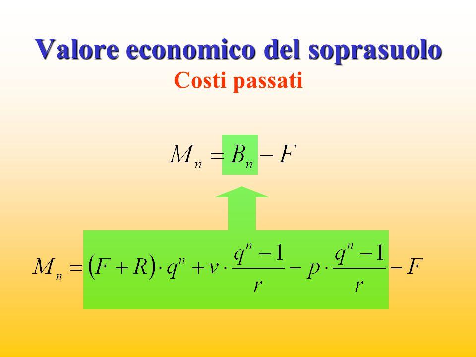 Valore economico del soprasuolo Valore economico del soprasuolo Costi passati