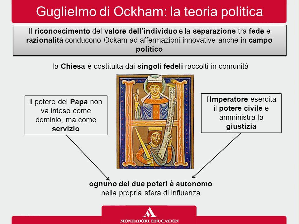 Guglielmo di Ockham: la teoria politica ognuno dei due poteri è autonomo nella propria sfera di influenza la Chiesa è costituita dai singoli fedeli ra