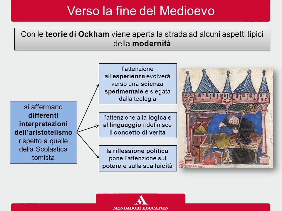 Verso la fine del Medioevo Con le teorie di Ockham viene aperta la strada ad alcuni aspetti tipici della modernità si affermano differenti interpretaz