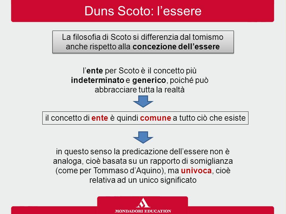 Duns Scoto: l'essere La filosofia di Scoto si differenzia dal tomismo anche rispetto alla concezione dell'essere l'ente per Scoto è il concetto più in