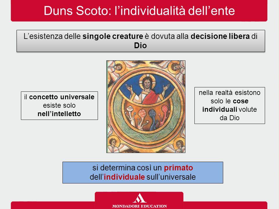 Duns Scoto: l'individualità dell'ente L'esistenza delle singole creature è dovuta alla decisione libera di Dio nella realtà esistono solo le cose indi