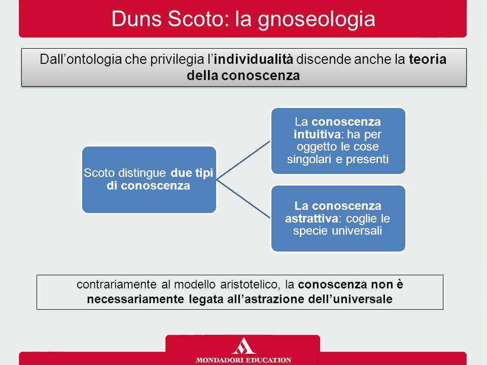Duns Scoto: la gnoseologia Dall'ontologia che privilegia l'individualità discende anche la teoria della conoscenza contrariamente al modello aristotel