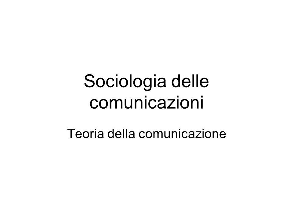 Sociologia delle comunicazioni Teoria della comunicazione