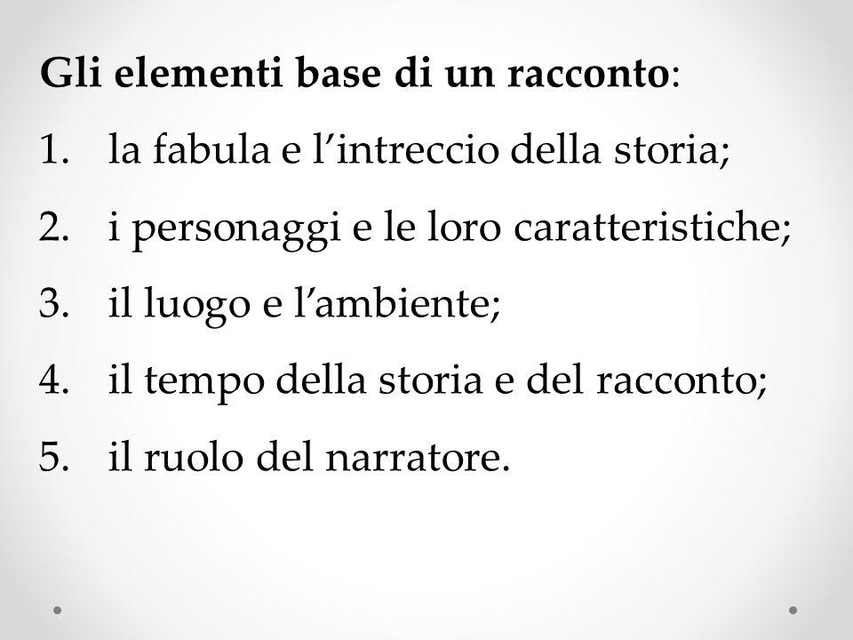 Gli elementi base di un racconto: 1.la fabula e l'intreccio della storia; 2.i personaggi e le loro caratteristiche; 3.il luogo e l'ambiente; 4.il tempo della storia e del racconto; 5.il ruolo del narratore.