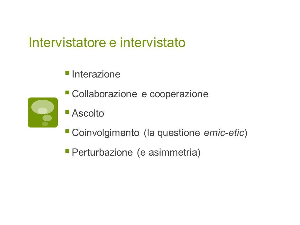 Intervistatore e intervistato  Interazione  Collaborazione e cooperazione  Ascolto  Coinvolgimento (la questione emic-etic)  Perturbazione (e asimmetria)