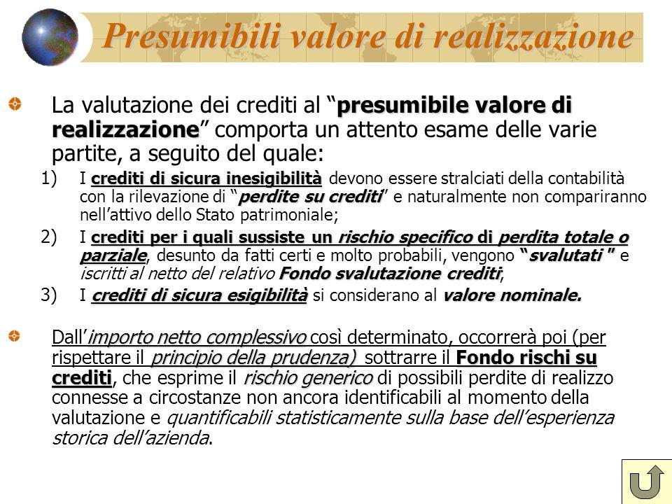 """Presumibili valore di realizzazione presumibile valore di realizzazione La valutazione dei crediti al """"presumibile valore di realizzazione"""" comporta u"""
