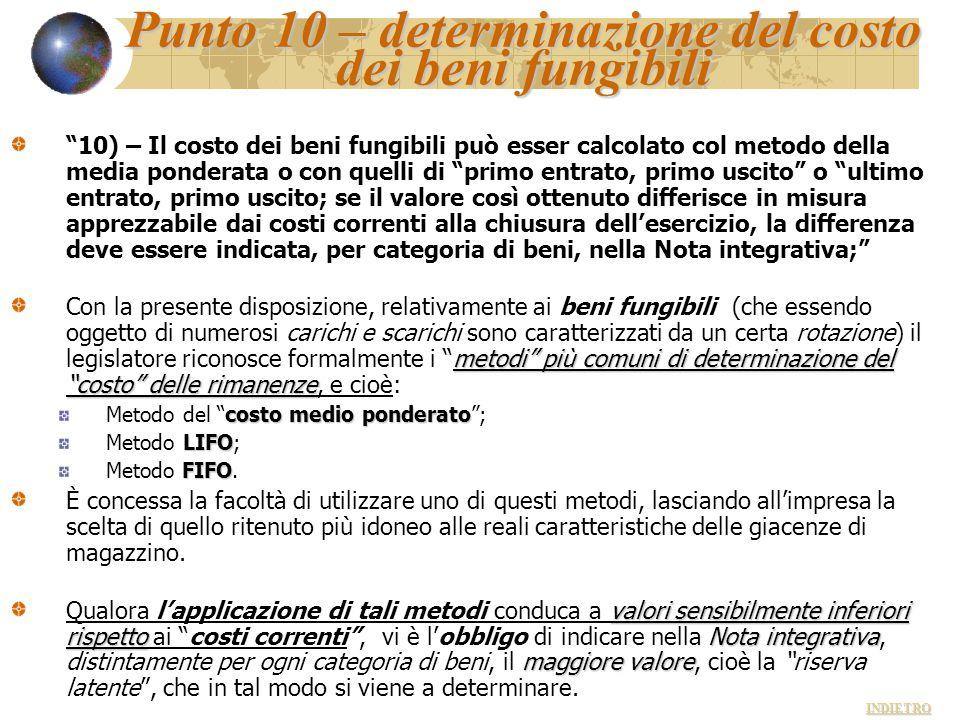 """Punto 10 – determinazione del costo dei beni fungibili """"10) – Il costo dei beni fungibili può esser calcolato col metodo della media ponderata o con q"""