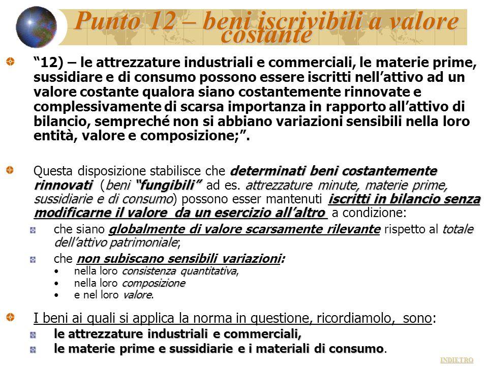 """Punto 12 – beni iscrivibili a valore costante """"12) – le attrezzature industriali e commerciali, le materie prime, sussidiare e di consumo possono esse"""
