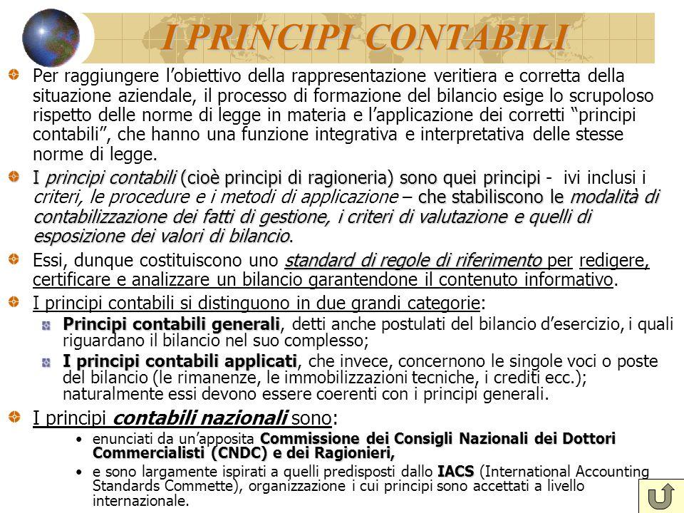 I PRINCIPI CONTABILI Per raggiungere l'obiettivo della rappresentazione veritiera e corretta della situazione aziendale, il processo di formazione del