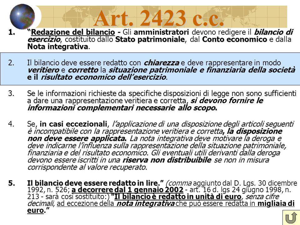 """Art. 2423 c.c. 1.""""Redazione del bilancio - bilancio di esercizioStato patrimonialeConto economico Nota integrativa 1.""""Redazione del bilancio - Gli amm"""