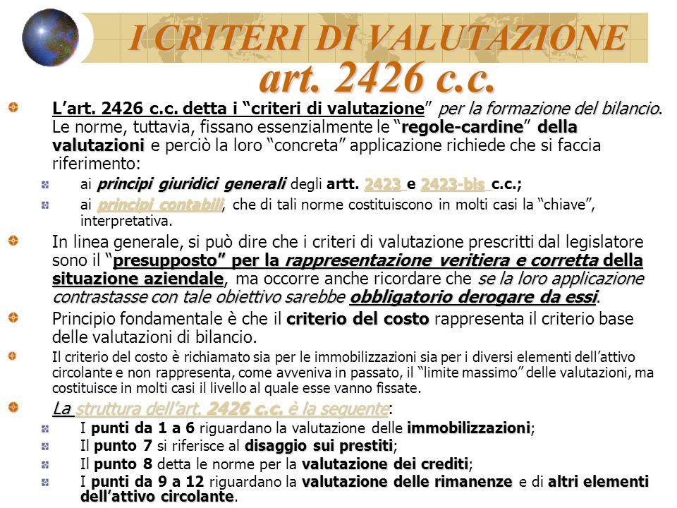"""I CRITERI DI VALUTAZIONE art. 2426 c.c. per la formazione del bilancio regole-cardinedella valutazioni L'art. 2426 c.c. detta i """"criteri di valutazion"""