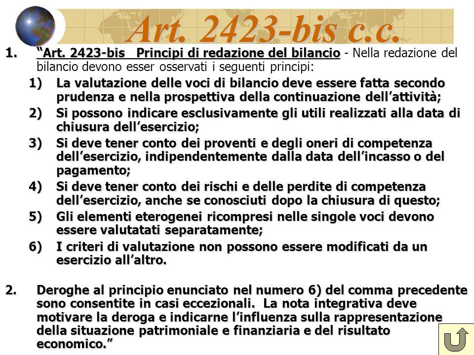 """Art. 2423-bis c.c. 1."""" Art. 2423-bis Principi di redazione del bilancio 1."""" Art. 2423-bis Principi di redazione del bilancio - Nella redazione del bil"""
