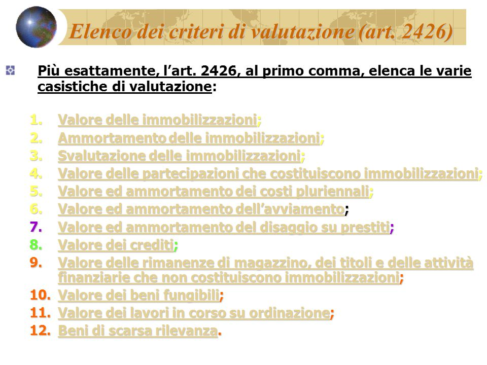 Elenco dei criteri di valutazione (art. 2426) Più esattamente, l'art. 2426, al primo comma, elenca le varie casistiche di valutazione: 1.Valore delle