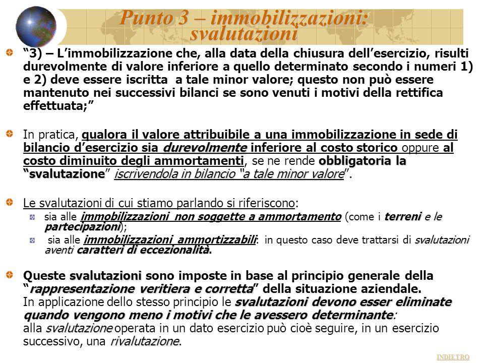 """Punto 3 – immobilizzazioni: svalutazioni """"3) – L'immobilizzazione che, alla data della chiusura dell'esercizio, risulti durevolmente di valore inferio"""