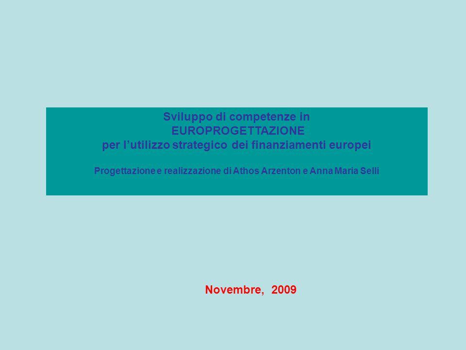 Novembre, 2009 Sviluppo di competenze in EUROPROGETTAZIONE per l'utilizzo strategico dei finanziamenti europei Progettazione e realizzazione di Athos Arzenton e Anna Maria Selli