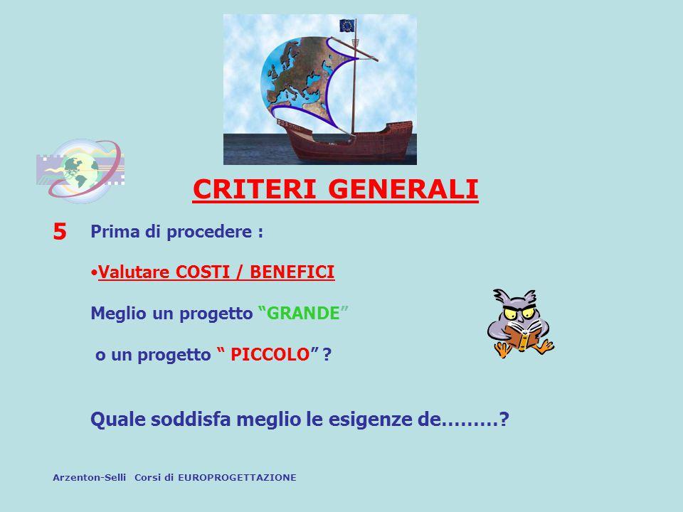 CRITERI GENERALI Prima di procedere : Valutare COSTI / BENEFICI Meglio un progetto GRANDE o un progetto PICCOLO .