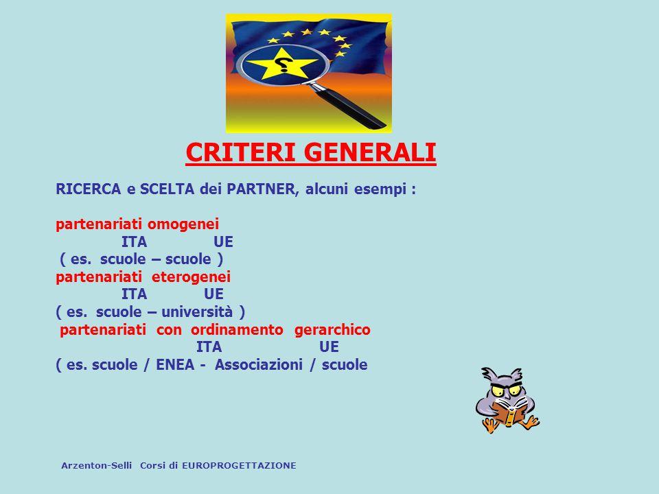 CRITERI GENERALI RICERCA e SCELTA dei PARTNER, alcuni esempi : partenariati omogenei ITA UE ( es. scuole – scuole ) partenariati eterogenei ITA UE ( e