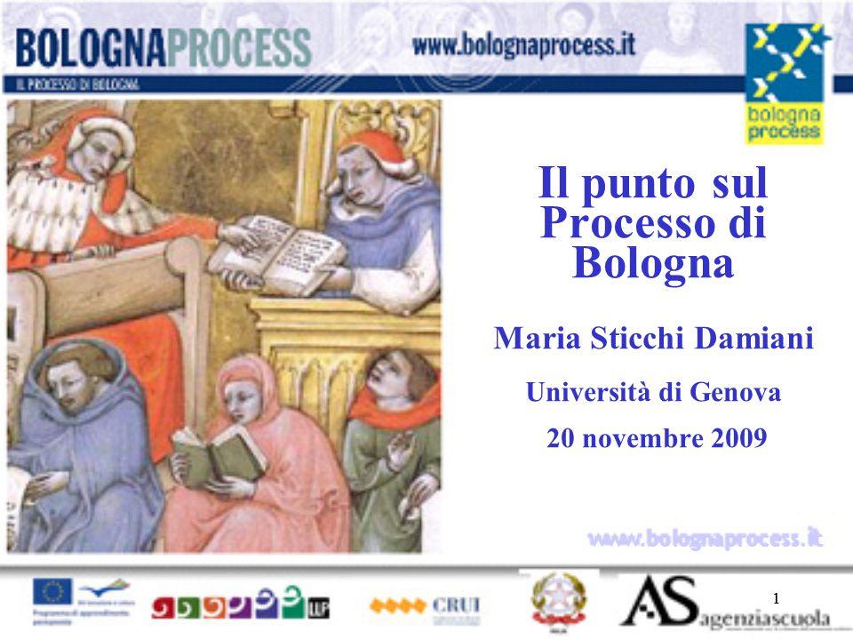 11 www.bolognaprocess.i t Il punto sul Processo di Bologna Maria Sticchi Damiani Università di Genova 20 novembre 2009