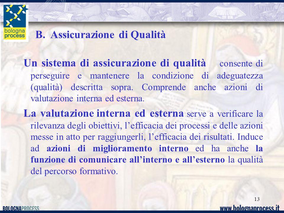 13 Un sistema di assicurazione di qualità consente di perseguire e mantenere la condizione di adeguatezza (qualità) descritta sopra.