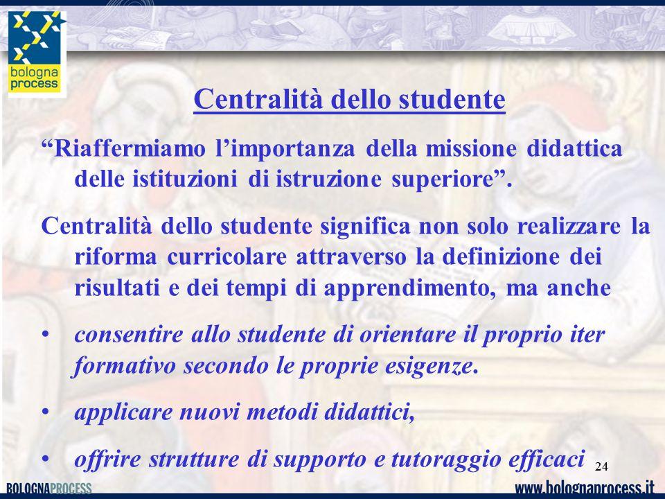 24 Centralità dello studente Riaffermiamo l'importanza della missione didattica delle istituzioni di istruzione superiore .