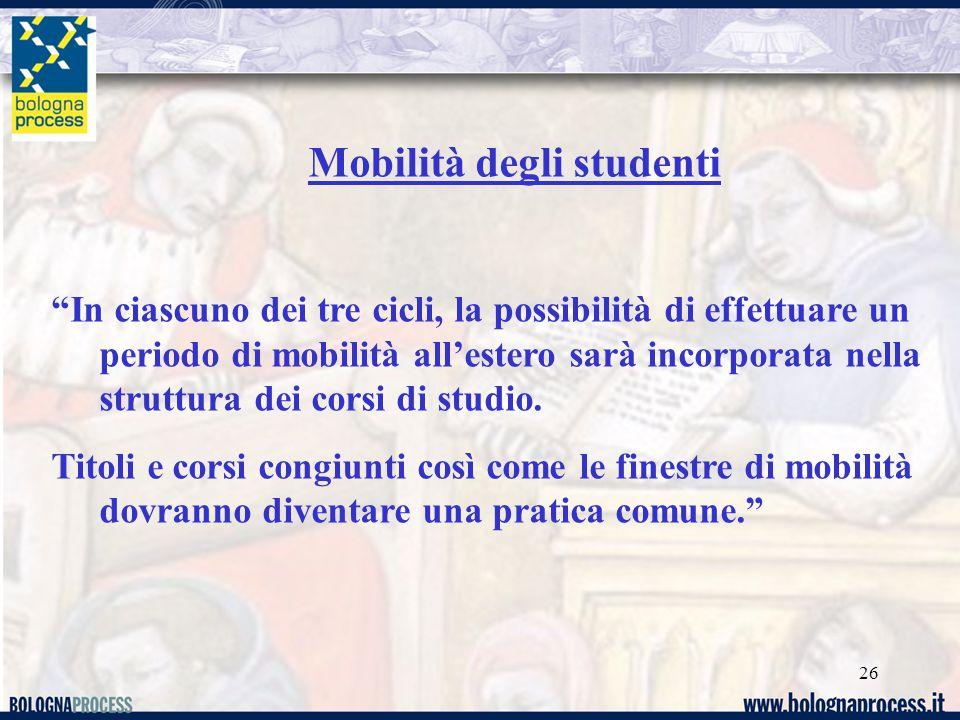 26 Mobilità degli studenti In ciascuno dei tre cicli, la possibilità di effettuare un periodo di mobilità all'estero sarà incorporata nella struttura dei corsi di studio.