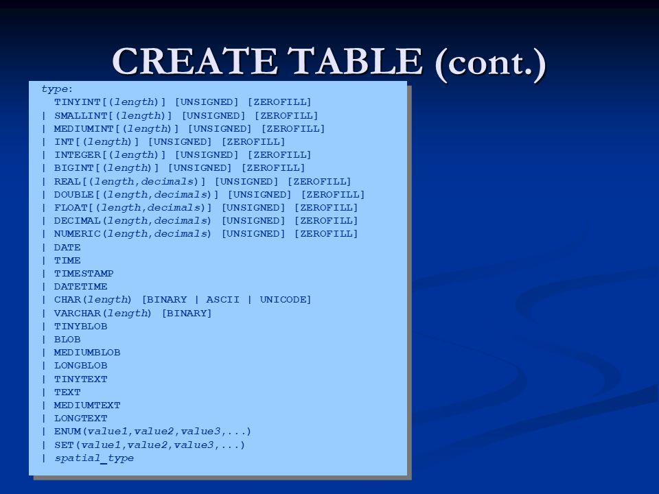 CREATE TABLE (cont.) type: TINYINT[(length)] [UNSIGNED] [ZEROFILL] | SMALLINT[(length)] [UNSIGNED] [ZEROFILL] | MEDIUMINT[(length)] [UNSIGNED] [ZEROFILL] | INT[(length)] [UNSIGNED] [ZEROFILL] | INTEGER[(length)] [UNSIGNED] [ZEROFILL] | BIGINT[(length)] [UNSIGNED] [ZEROFILL] | REAL[(length,decimals)] [UNSIGNED] [ZEROFILL] | DOUBLE[(length,decimals)] [UNSIGNED] [ZEROFILL] | FLOAT[(length,decimals)] [UNSIGNED] [ZEROFILL] | DECIMAL(length,decimals) [UNSIGNED] [ZEROFILL] | NUMERIC(length,decimals) [UNSIGNED] [ZEROFILL] | DATE | TIME | TIMESTAMP | DATETIME | CHAR(length) [BINARY | ASCII | UNICODE] | VARCHAR(length) [BINARY] | TINYBLOB | BLOB | MEDIUMBLOB | LONGBLOB | TINYTEXT | TEXT | MEDIUMTEXT | LONGTEXT | ENUM(value1,value2,value3,...) | SET(value1,value2,value3,...) | spatial_type