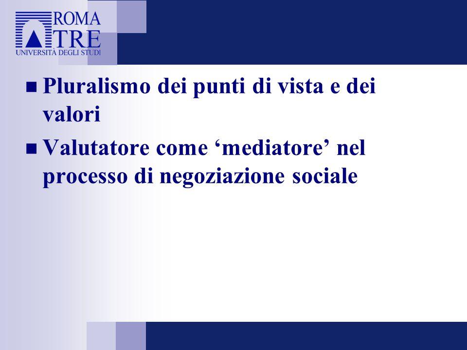 Pluralismo dei punti di vista e dei valori Valutatore come 'mediatore' nel processo di negoziazione sociale