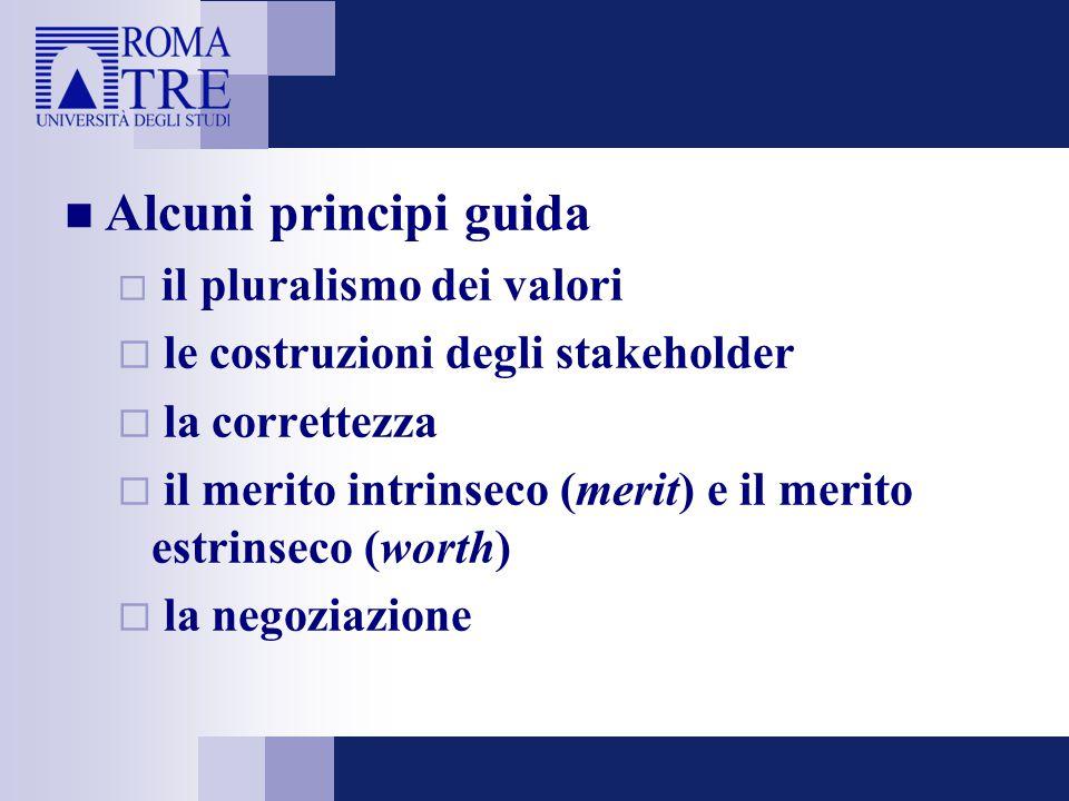 Alcuni principi guida  il pluralismo dei valori  le costruzioni degli stakeholder  la correttezza  il merito intrinseco (merit) e il merito estrin