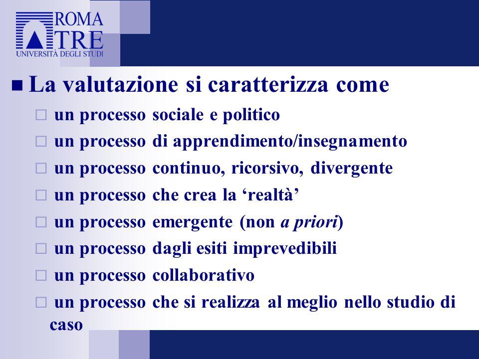 La valutazione si caratterizza come  un processo sociale e politico  un processo di apprendimento/insegnamento  un processo continuo, ricorsivo, di